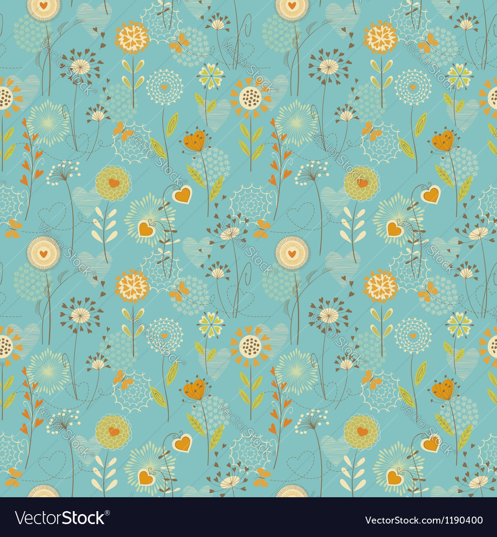 Floral hearts pattern vector | Price: 1 Credit (USD $1)