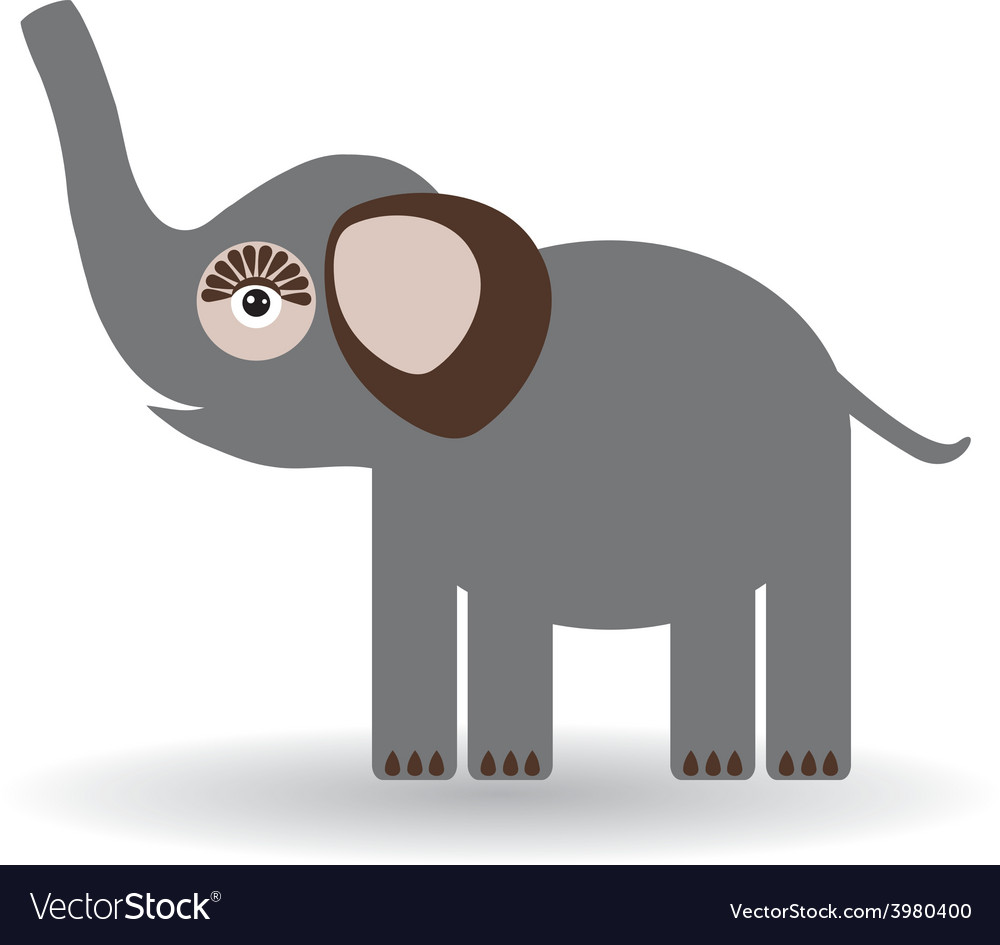 Funny elephant on a white background vector | Price: 1 Credit (USD $1)