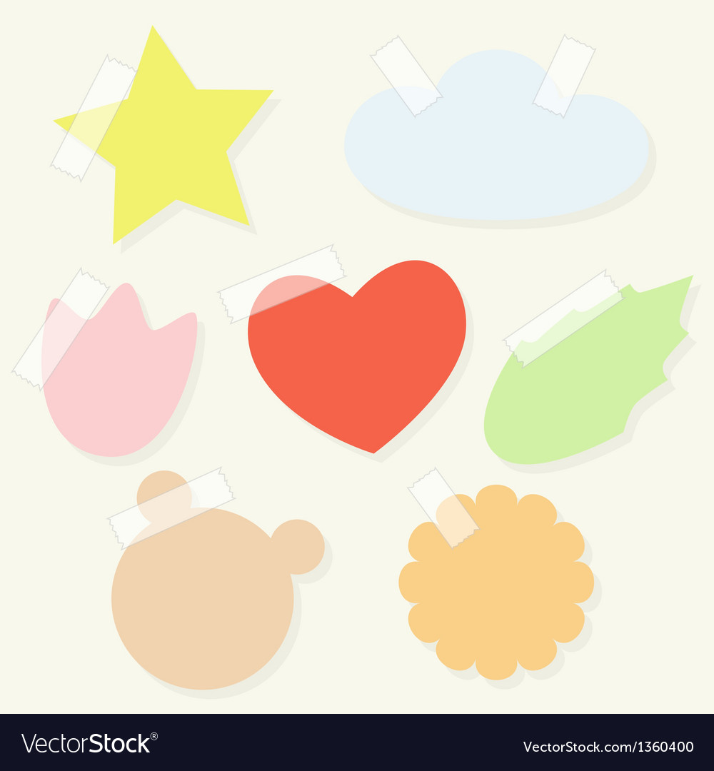 Set of paper stickers with tape for scrapbooking vector | Price: 1 Credit (USD $1)
