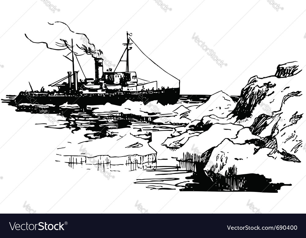 Ship in iceberg waters vector | Price: 1 Credit (USD $1)