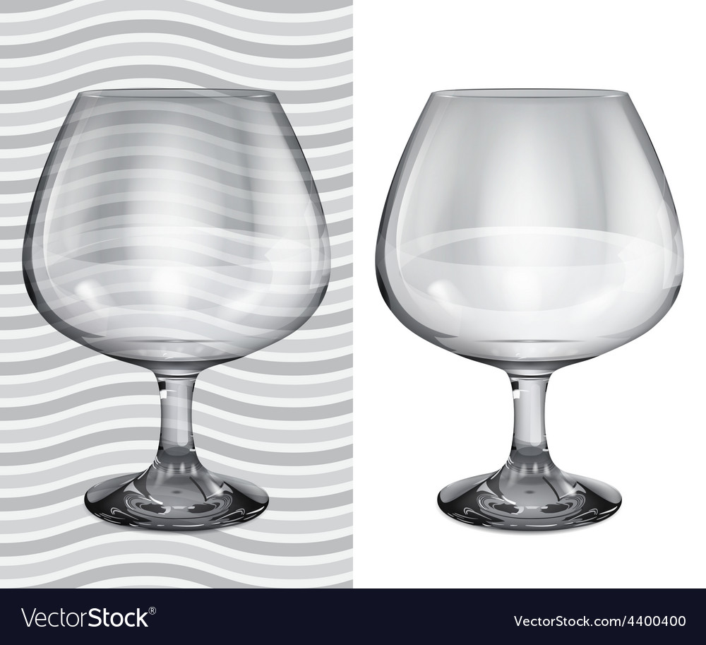 Transparent and opaque realistic brandy glasses vector | Price: 1 Credit (USD $1)
