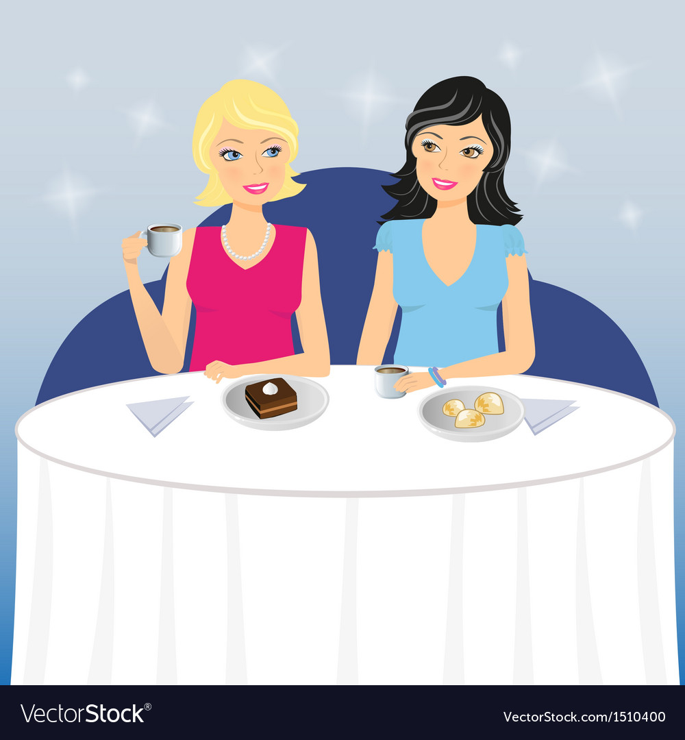Two girls drink coffee with dessert vector | Price: 1 Credit (USD $1)