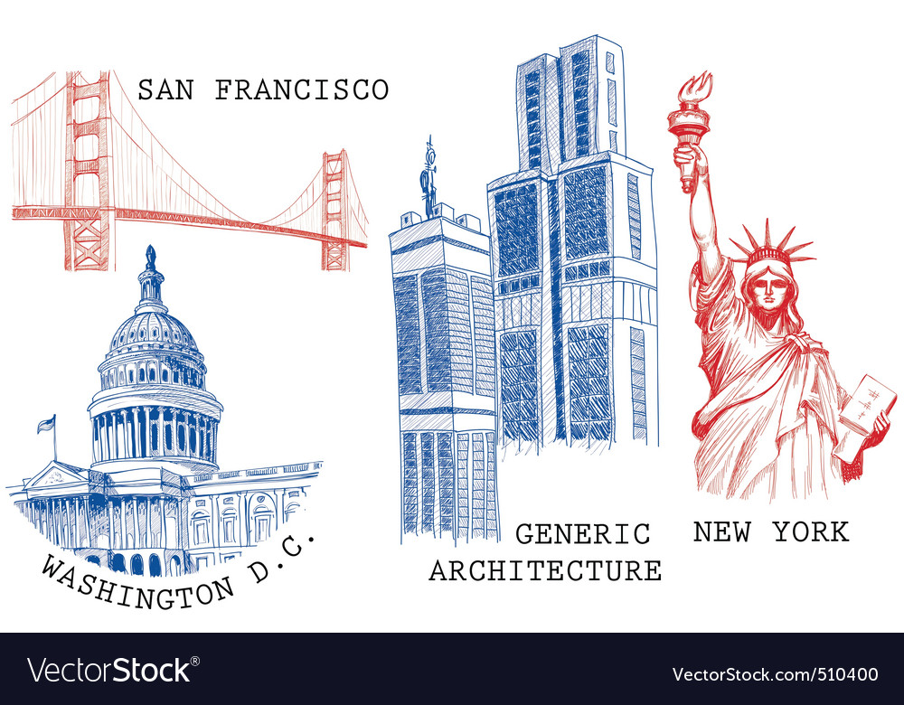 Usa famous cities vector | Price: 1 Credit (USD $1)