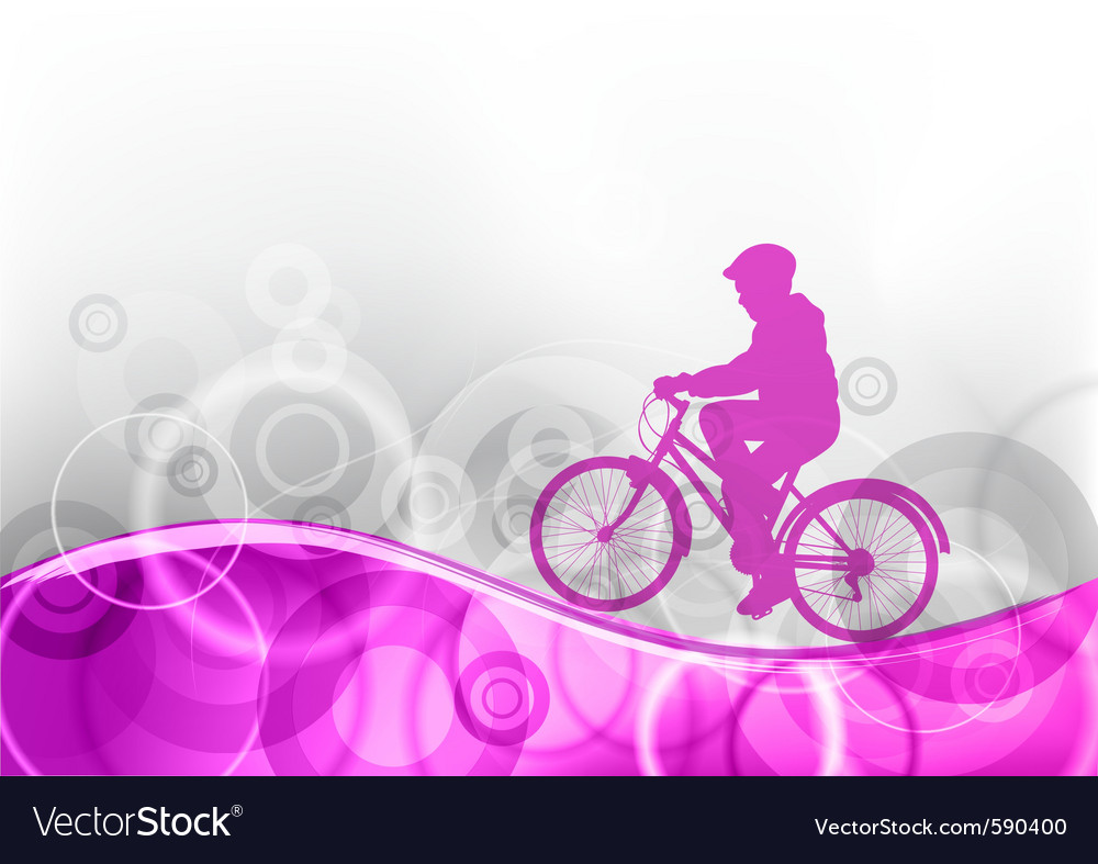 Young girl on the bicycle vector | Price: 1 Credit (USD $1)