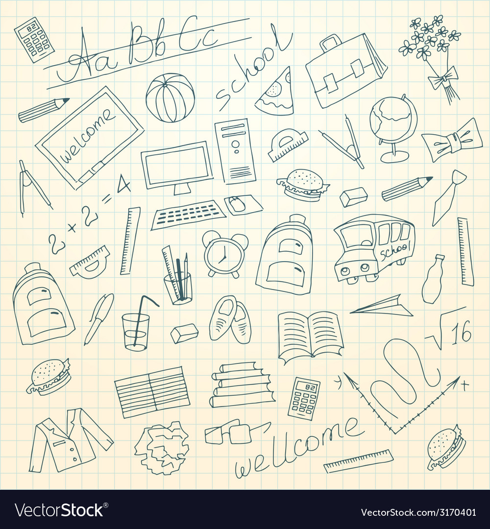 Hand drawn school background vector | Price: 1 Credit (USD $1)