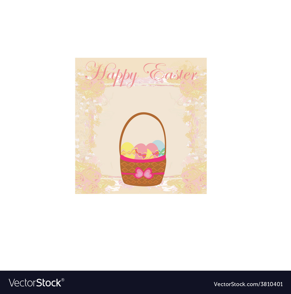 Happy easter border with eggs card vector | Price: 1 Credit (USD $1)