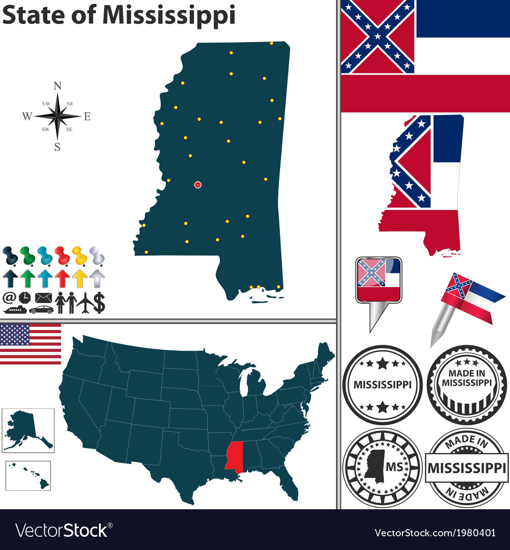 Map of mississippi vector | Price: 1 Credit (USD $1)