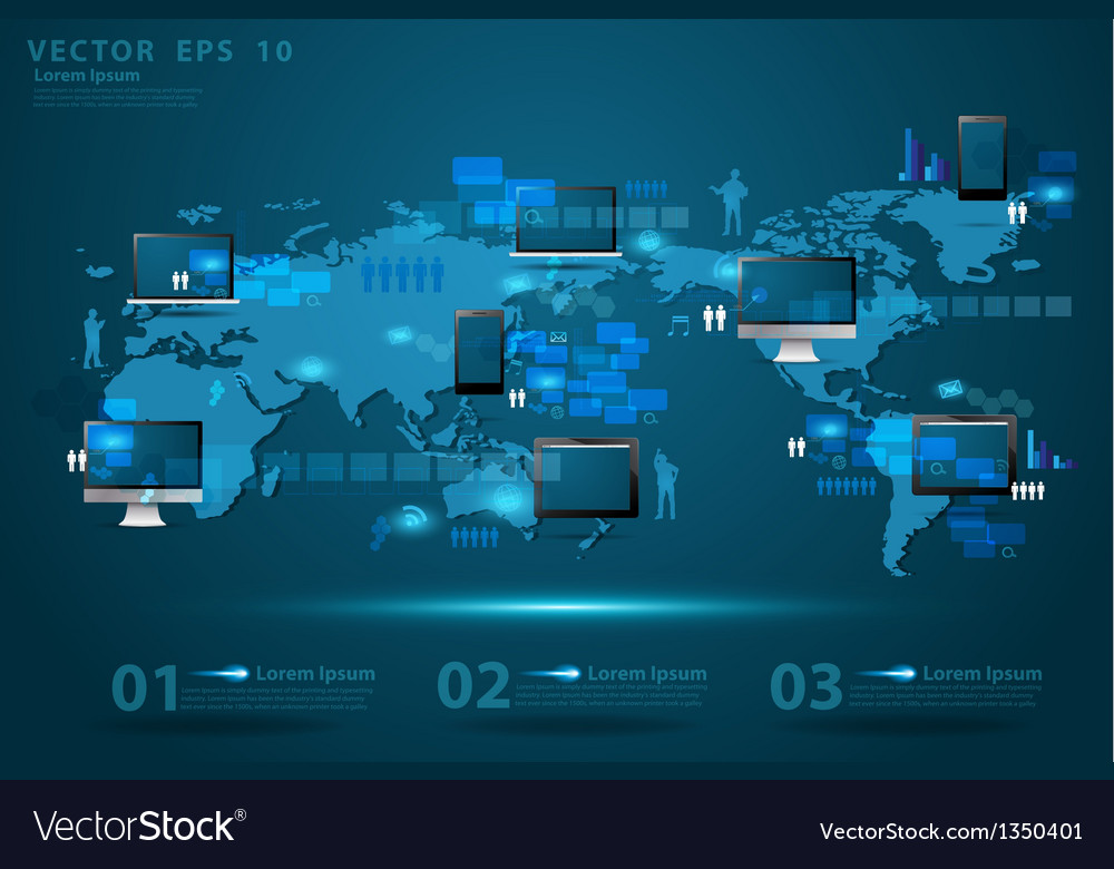 Modern global business technology concept vector | Price: 3 Credit (USD $3)