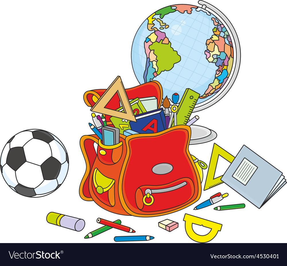 Schoolbag globe and ball vector