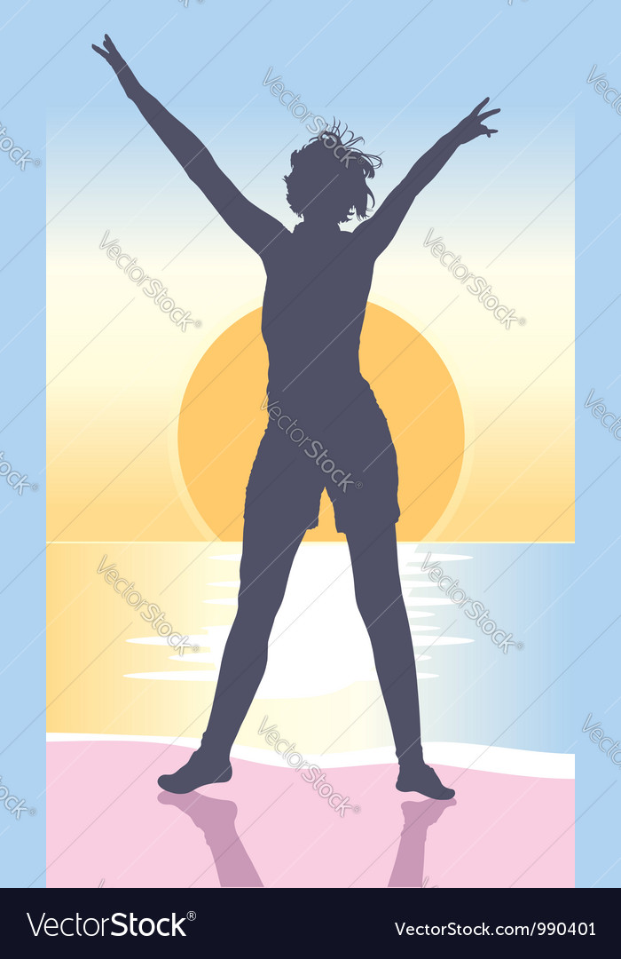 Silhouette of young woman on the sea shore vector | Price: 1 Credit (USD $1)