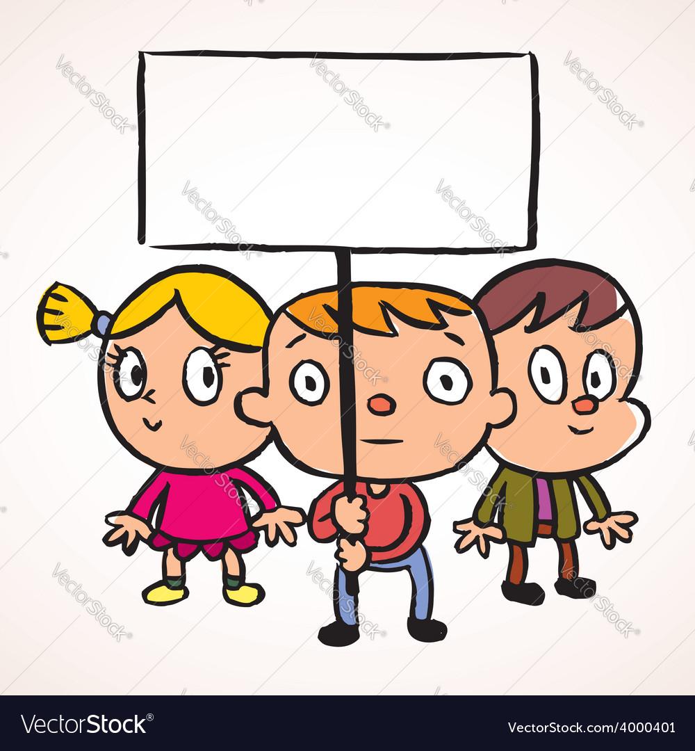 Three protest kids vector | Price: 1 Credit (USD $1)
