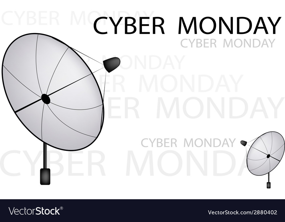 A satellite dish sending a cyber monday sign vector | Price: 1 Credit (USD $1)