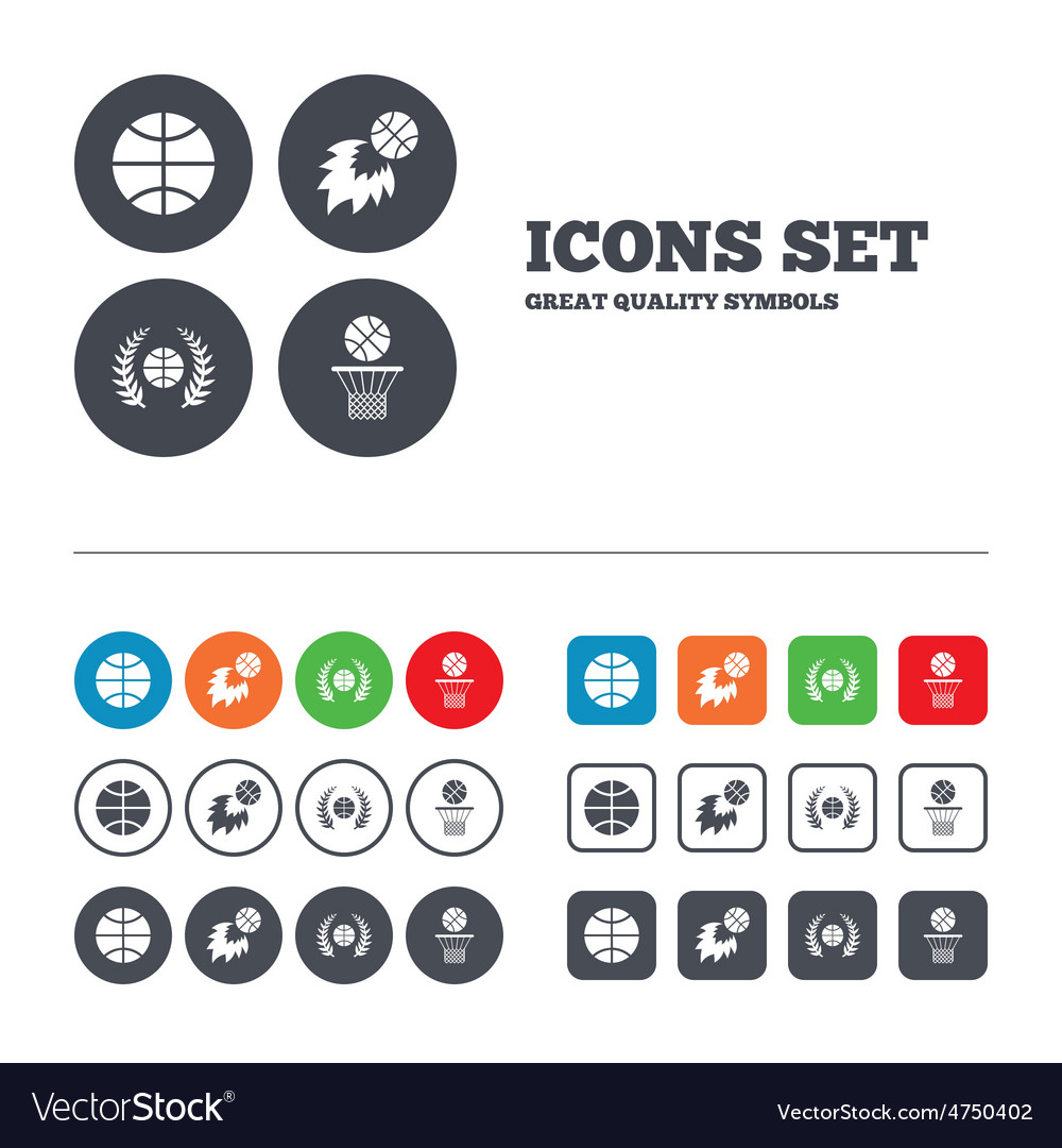Basketball icons ball with basket and fireball vector | Price: 1 Credit (USD $1)
