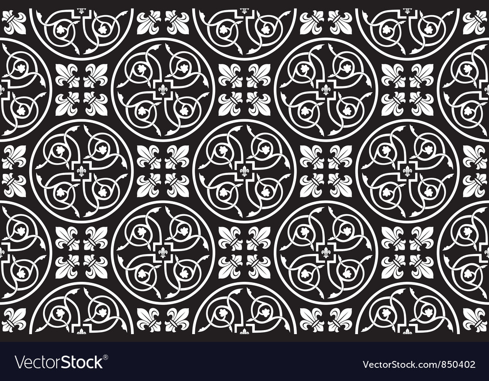 Black-and-white seamless gothic pattern vector | Price: 1 Credit (USD $1)