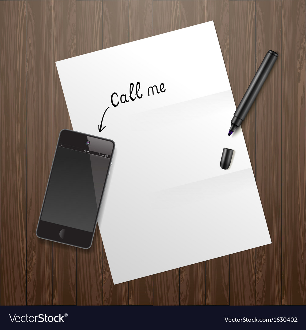 Blank white paper on wooden desk with mobile phone vector | Price: 1 Credit (USD $1)
