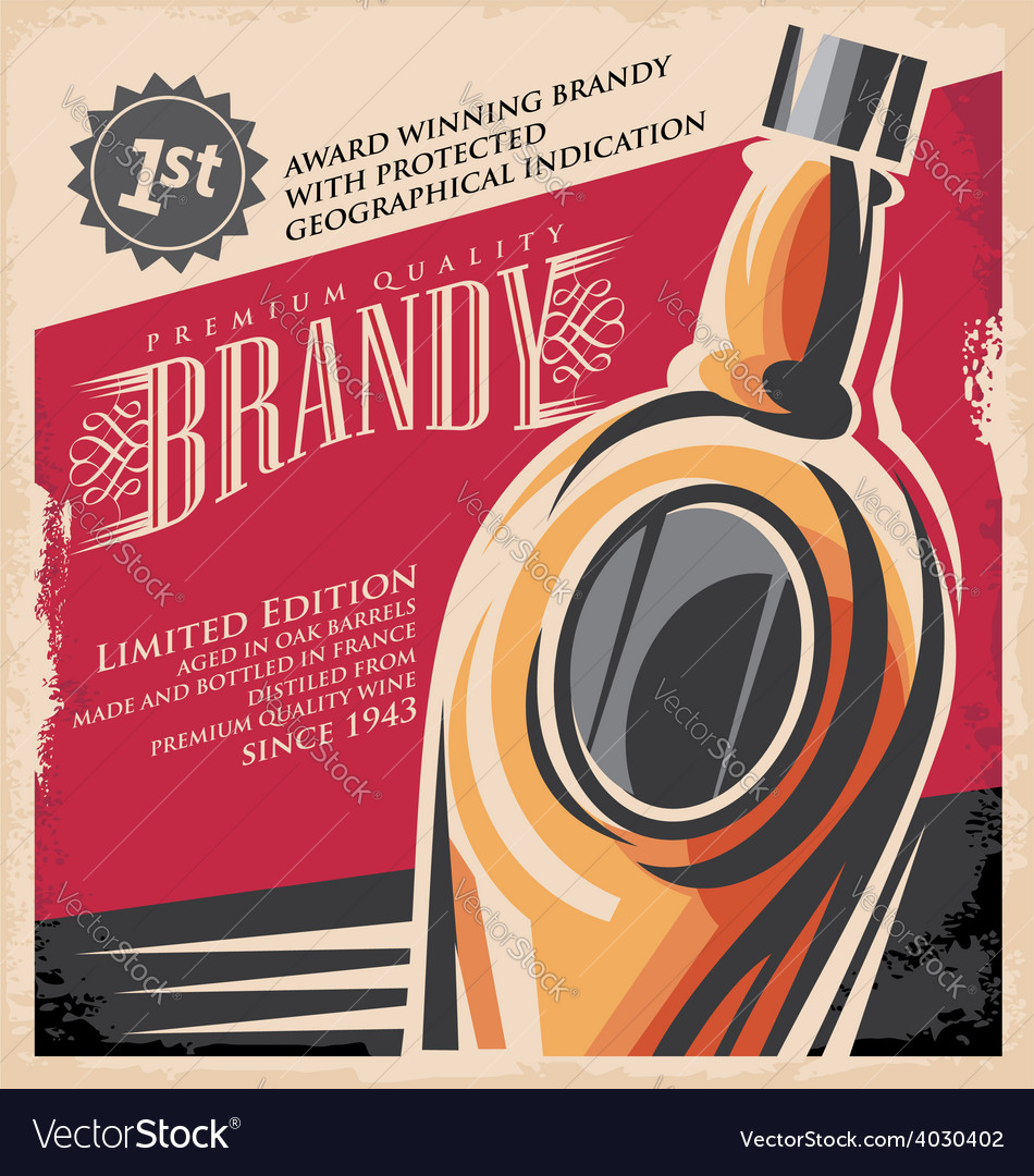 Brandy vintage poster design template vector | Price: 1 Credit (USD $1)