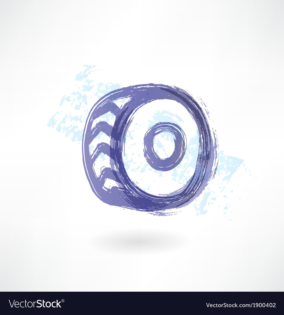 Car wheel grunge icon vector | Price: 1 Credit (USD $1)
