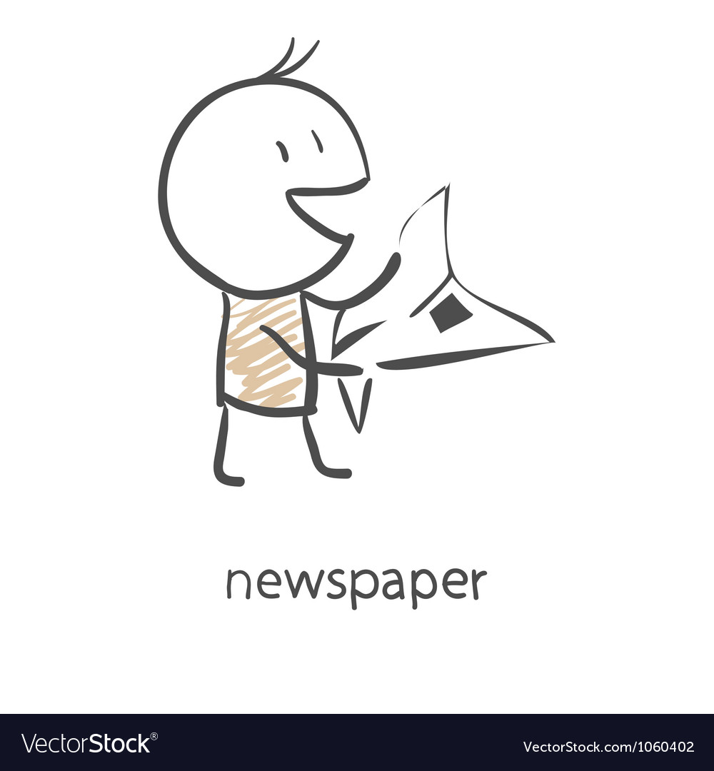 Cartoon man reading a newspaper vector | Price: 1 Credit (USD $1)