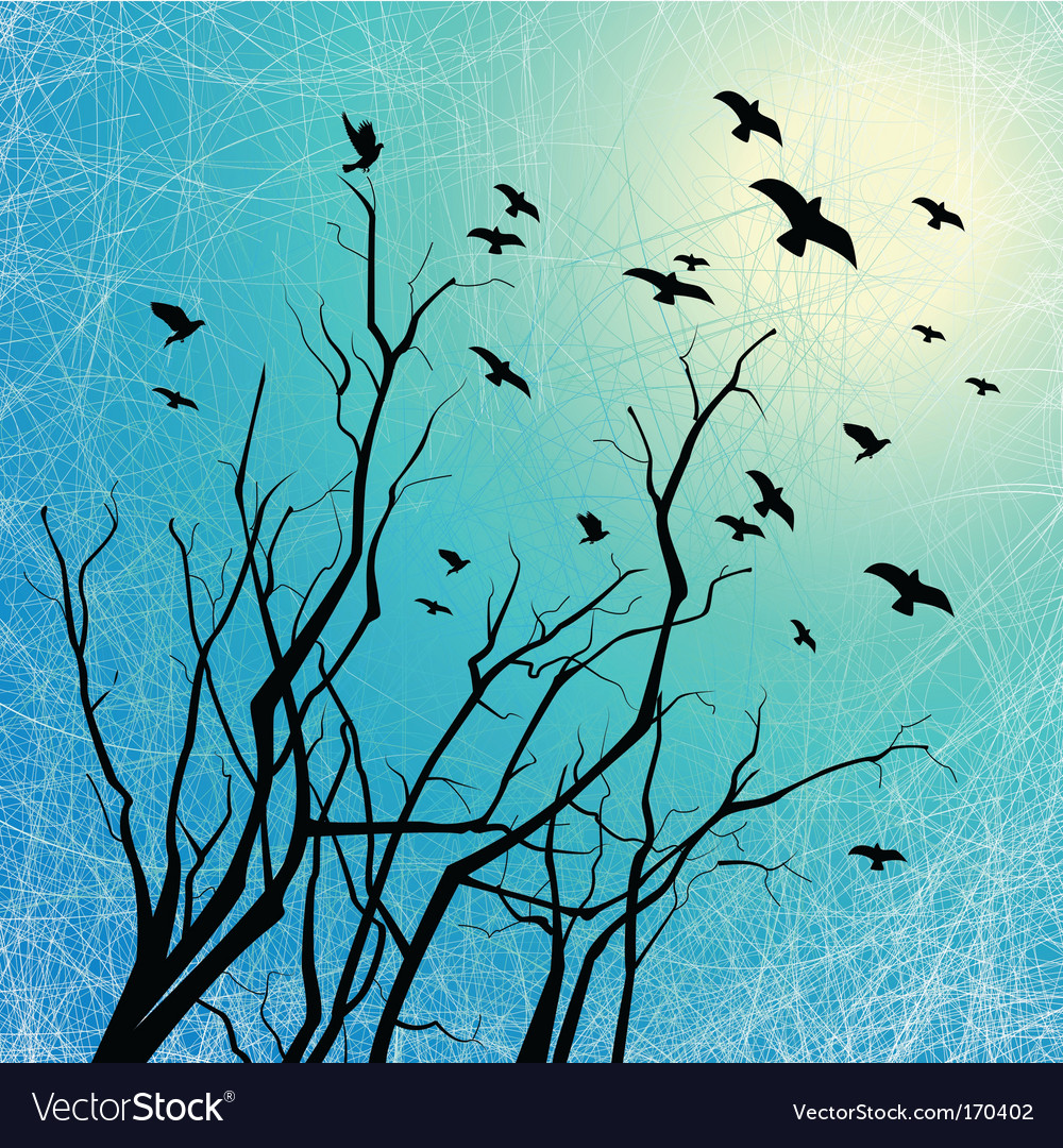 Flying birds and tree branches vector | Price: 1 Credit (USD $1)