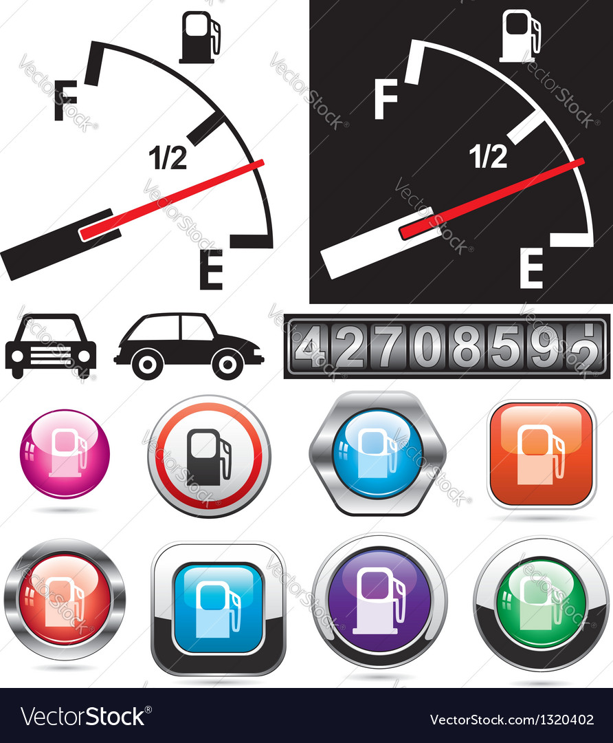 Gas gauge and icons of petrol station vector | Price: 1 Credit (USD $1)