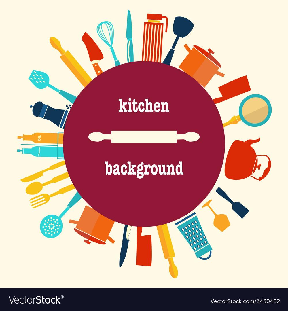 Kitchen utensilbackground vector