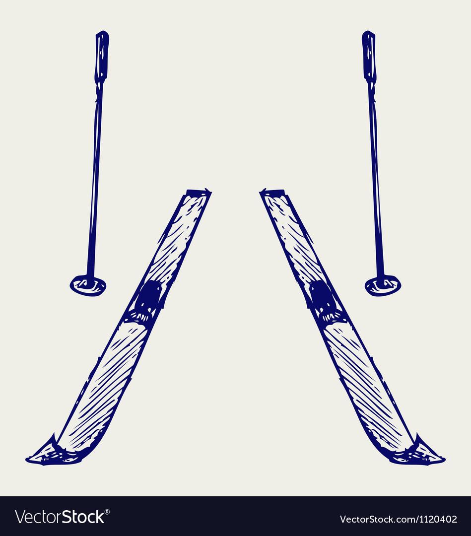 Pair skis vector | Price: 1 Credit (USD $1)