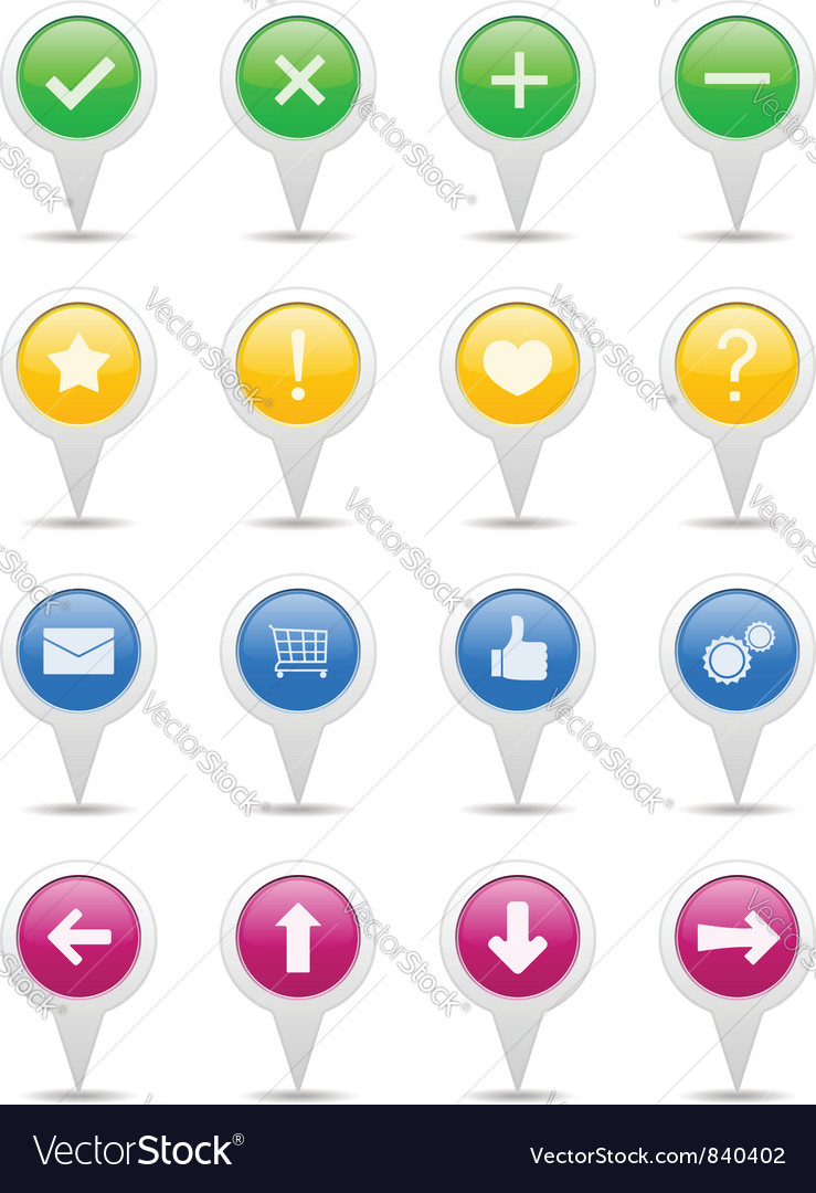 Pointers with icons vector | Price: 1 Credit (USD $1)