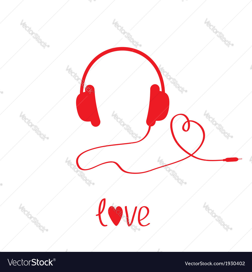Red headphones and cord in shape of heart white vector | Price: 1 Credit (USD $1)