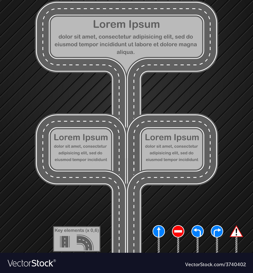 Road infographics template vector | Price: 1 Credit (USD $1)