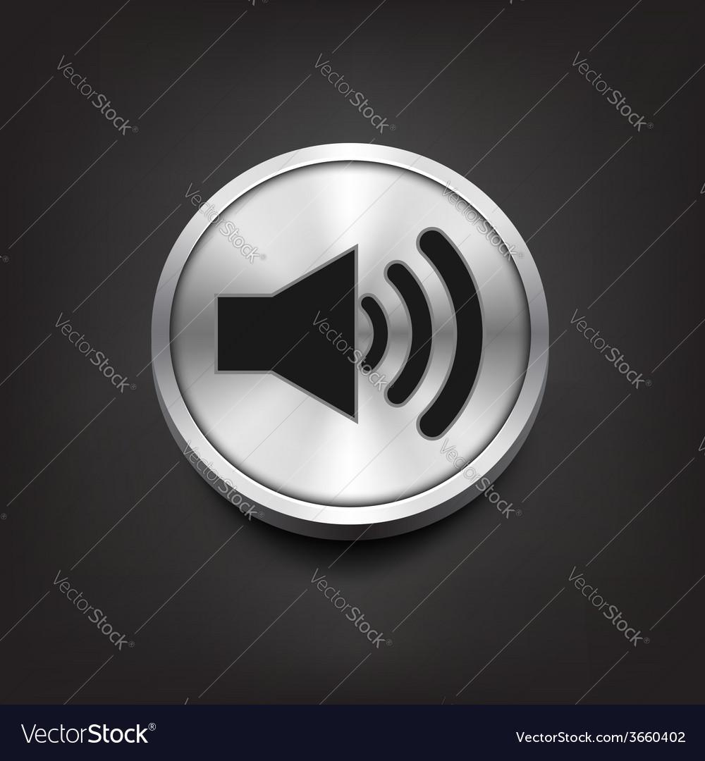 Speaker volume icon on silver button vector | Price: 1 Credit (USD $1)