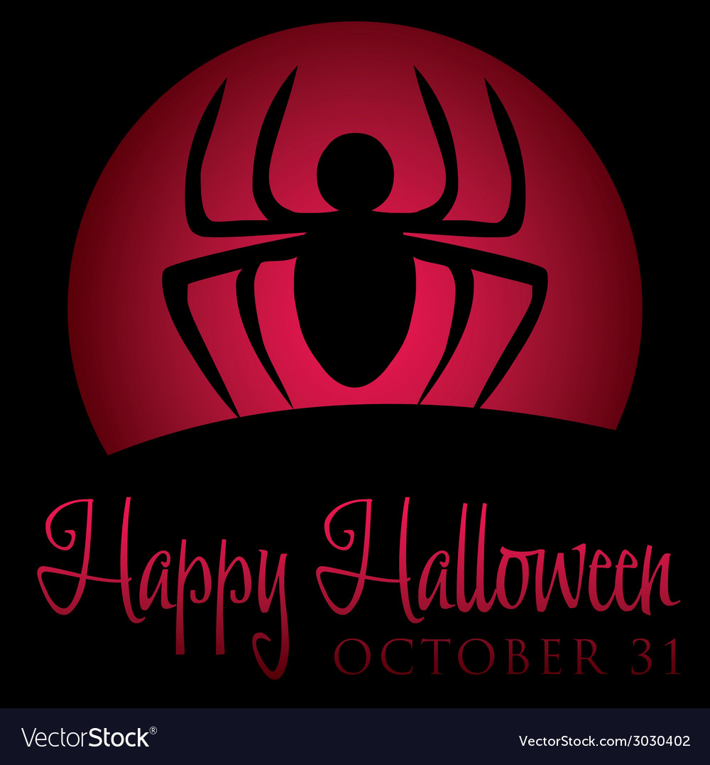 Spider rising moon halloween card in format vector | Price: 1 Credit (USD $1)