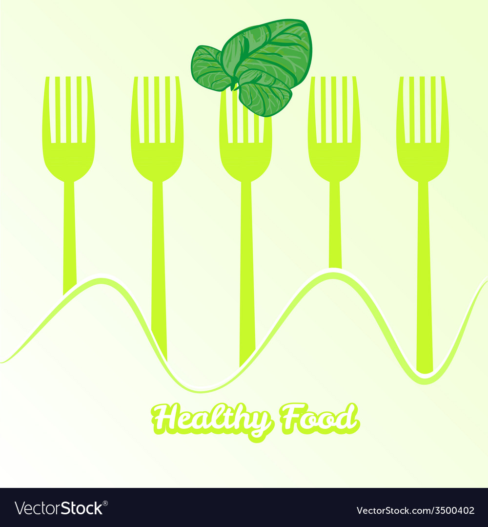Tableware set of fork with spinach vector | Price: 1 Credit (USD $1)