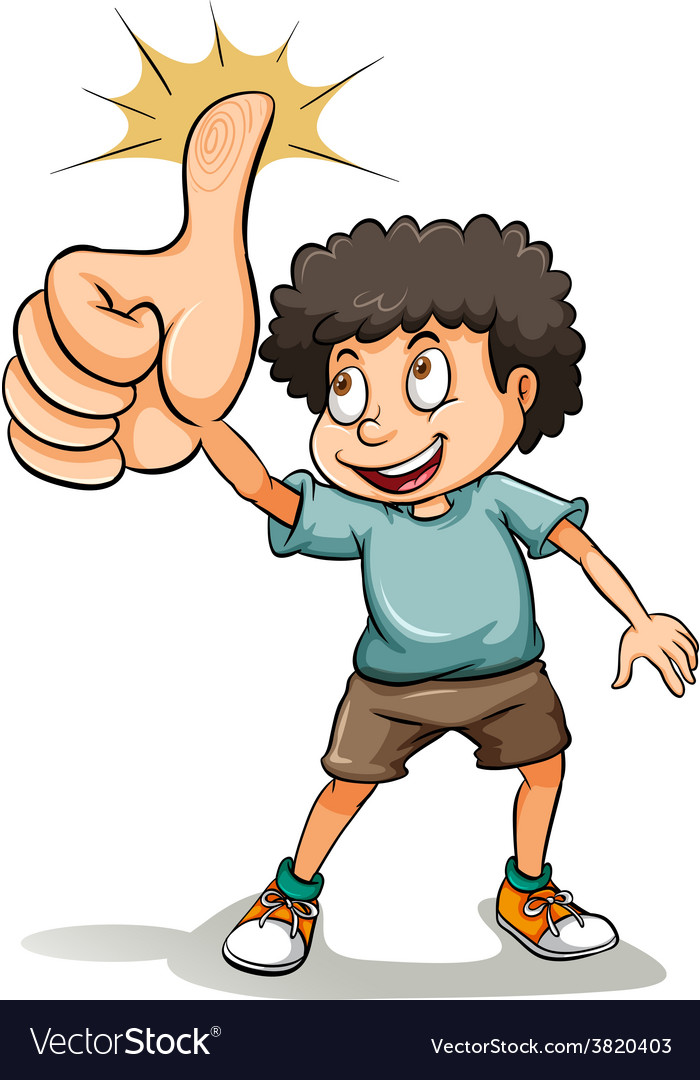 A boy showing his thumb vector | Price: 3 Credit (USD $3)