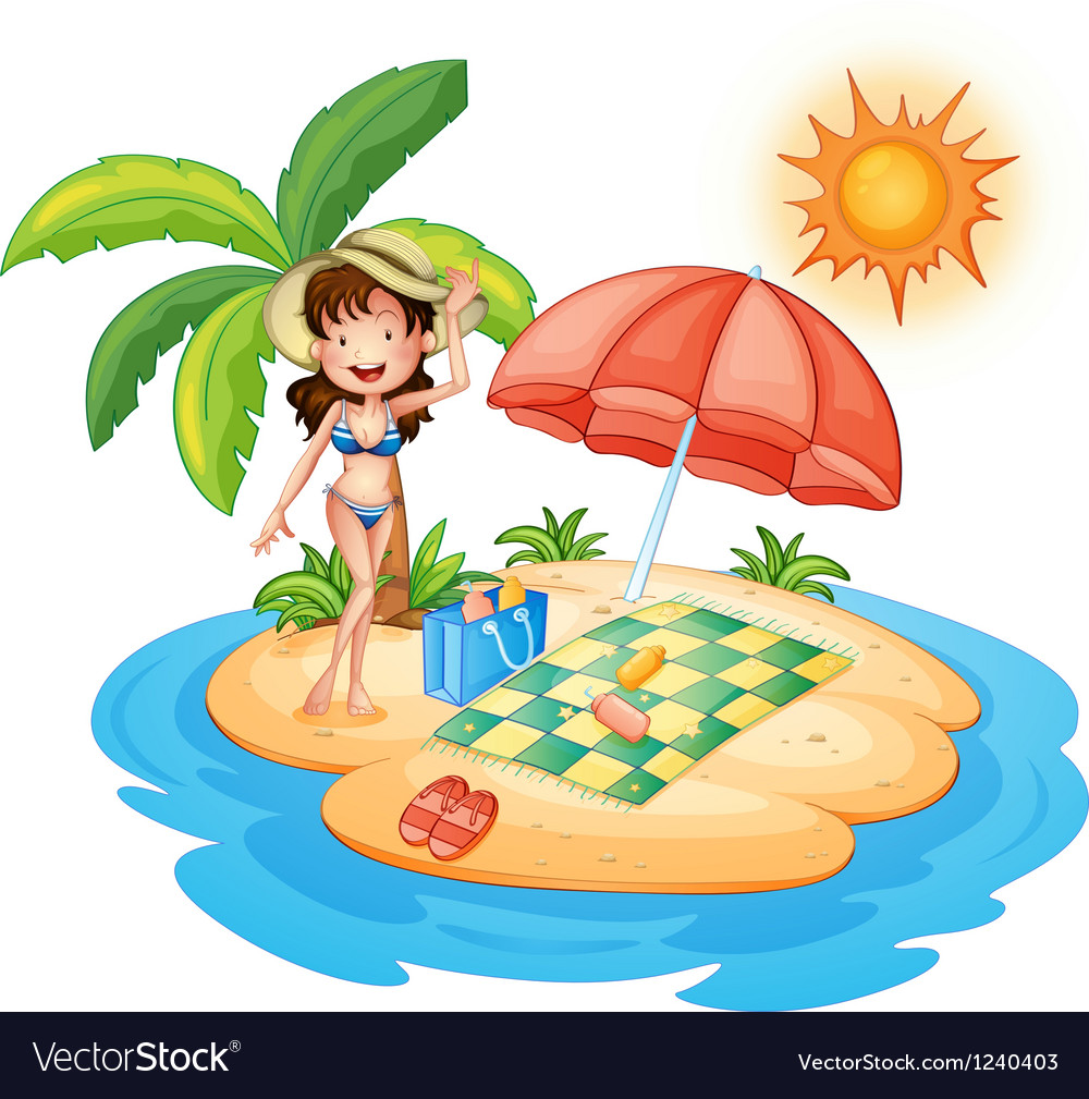 A girl at the beach under the scorching heat of vector | Price: 1 Credit (USD $1)