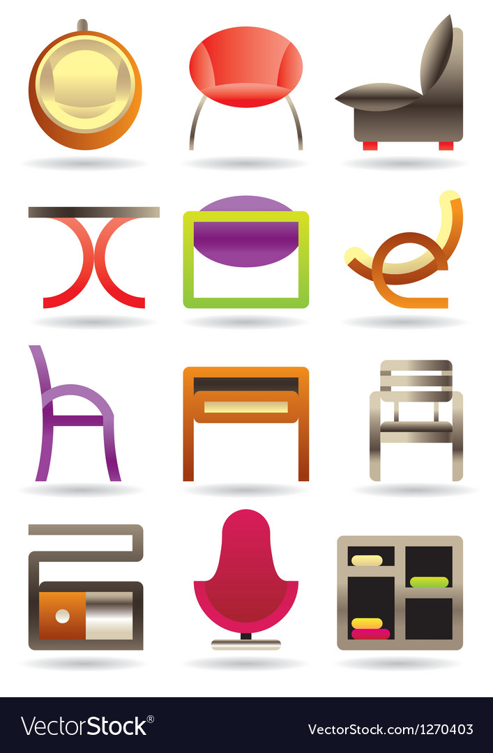 Contemporary home furniture icons set vector | Price: 3 Credit (USD $3)