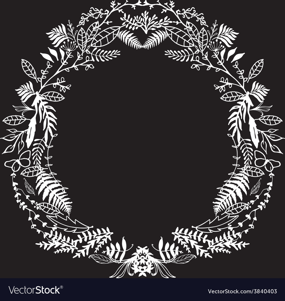 Hand sketeched floral frame vector | Price: 1 Credit (USD $1)