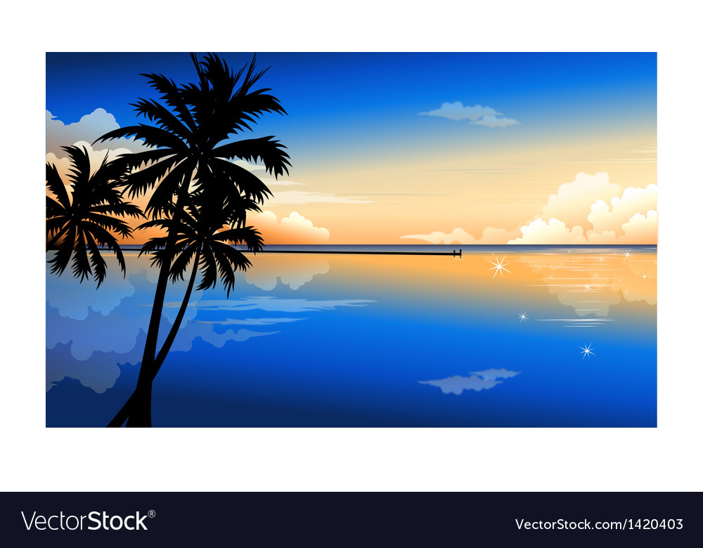 Palm at dawn vector | Price: 1 Credit (USD $1)