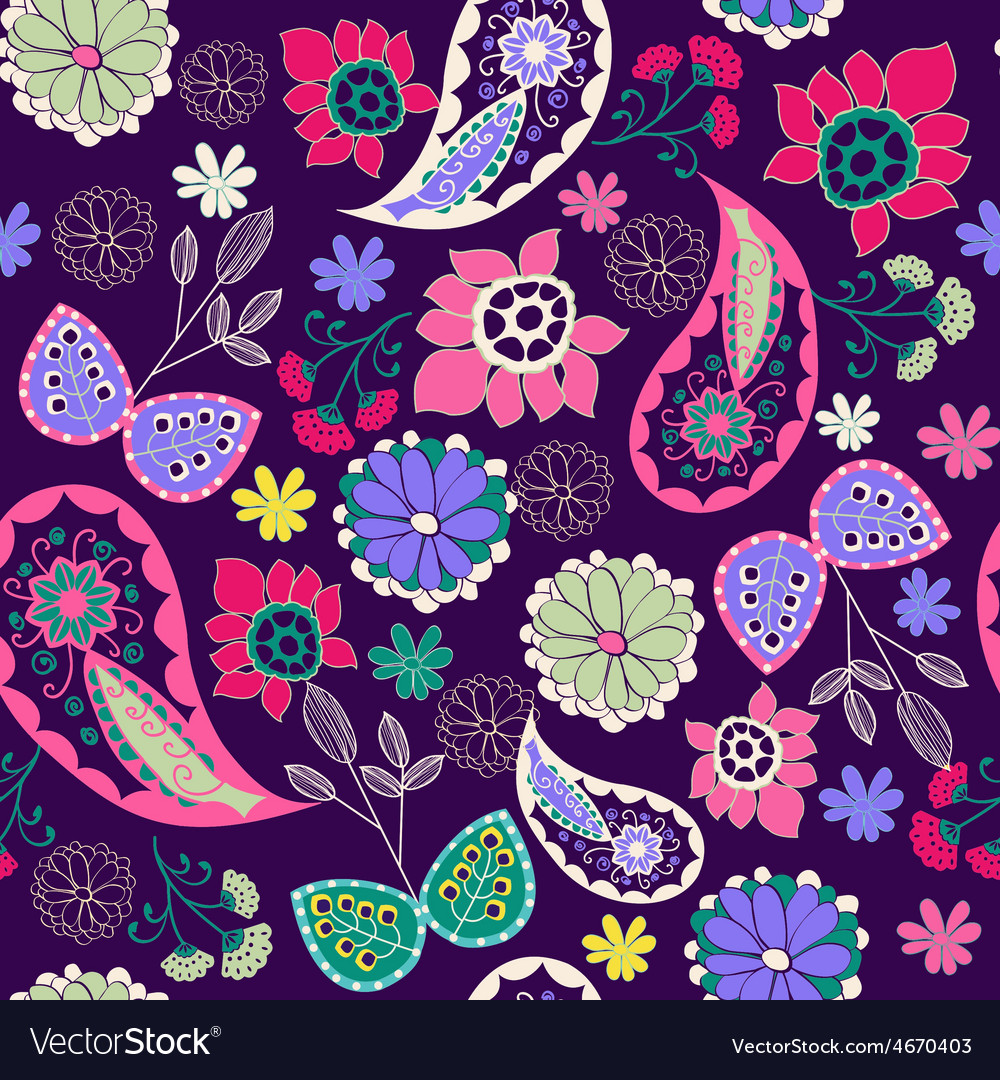 Romantic beauty pattern with flower and paisley vector | Price: 1 Credit (USD $1)