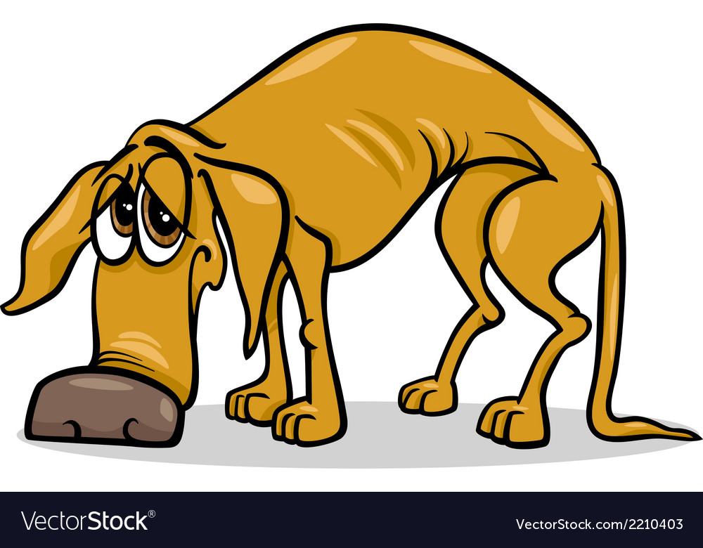 Sad homeless dog cartoon vector   Price: 1 Credit (USD $1)
