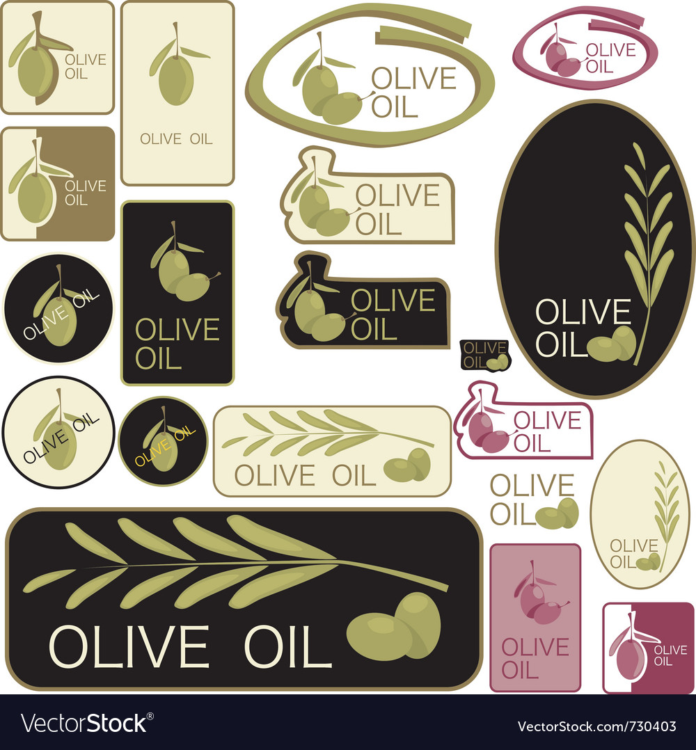 Set of olive oil labels vector | Price: 1 Credit (USD $1)