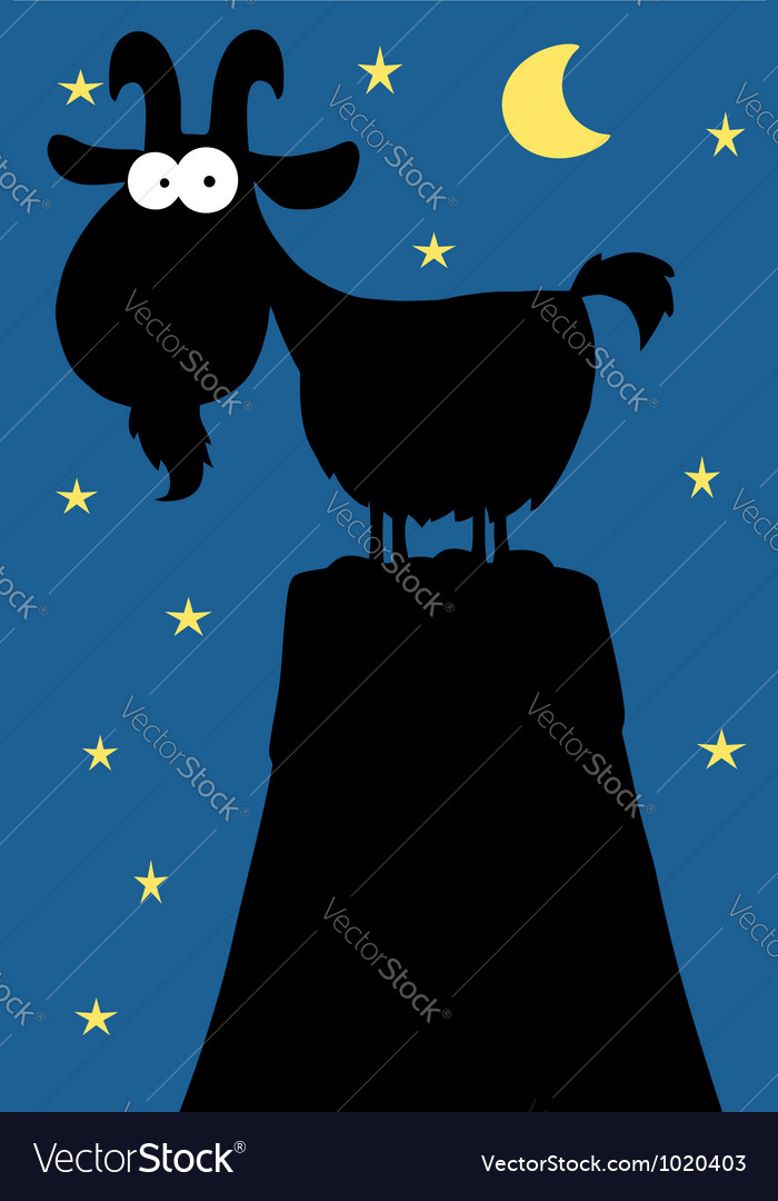 Silhouetted mountain goat at night vector | Price: 1 Credit (USD $1)