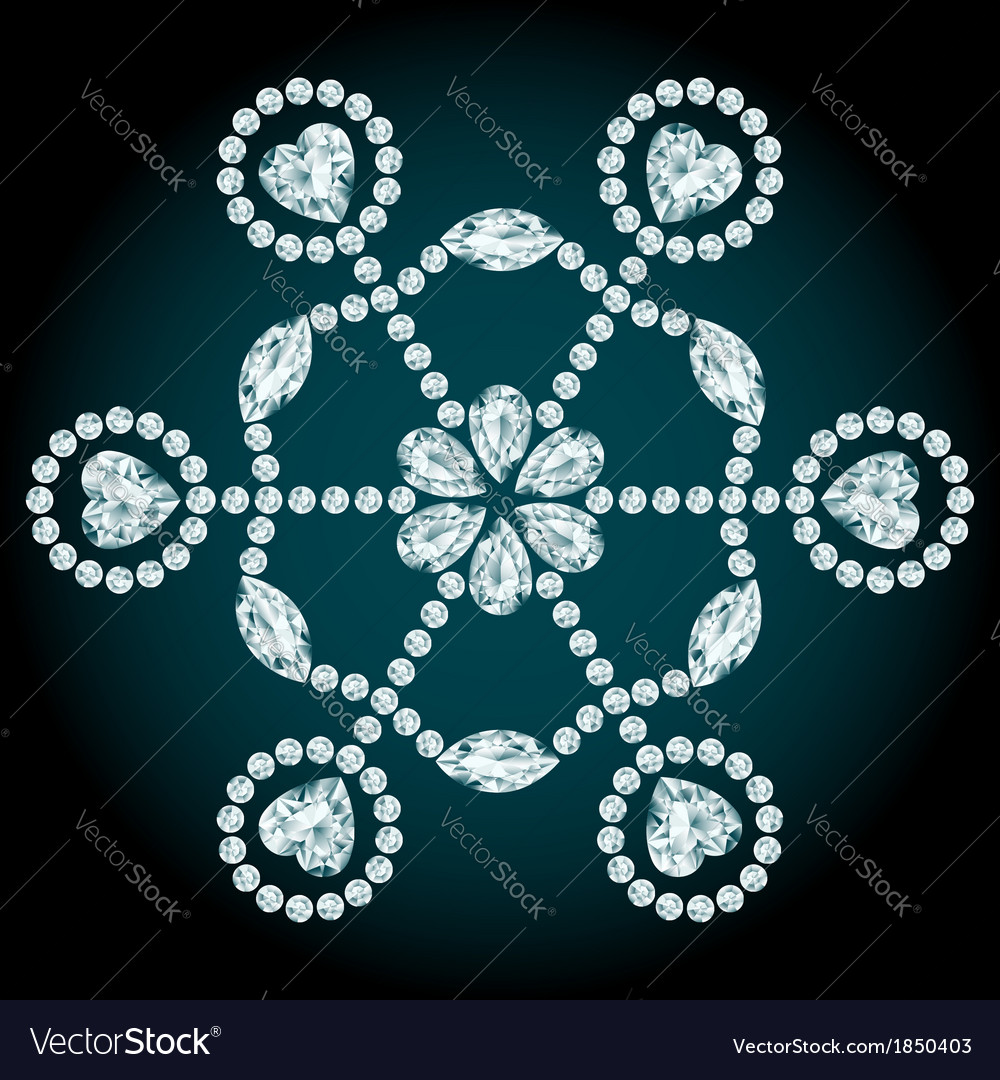 Snowflake diamond composition vector | Price: 1 Credit (USD $1)