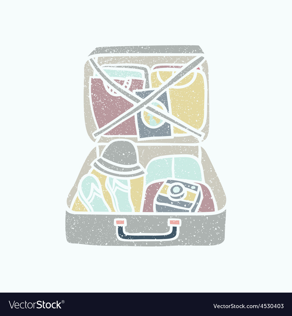 Suitcase with clothes flip flops camera and vector | Price: 1 Credit (USD $1)