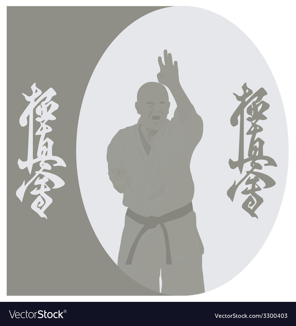 The the man shows karate on a gray background vector | Price: 1 Credit (USD $1)