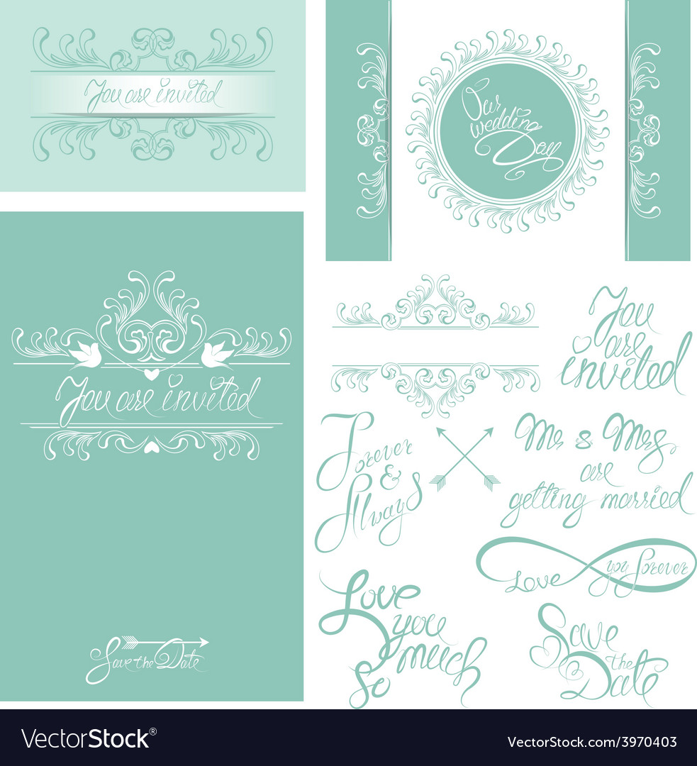 Wedding invitation set 3 380 vector | Price: 1 Credit (USD $1)