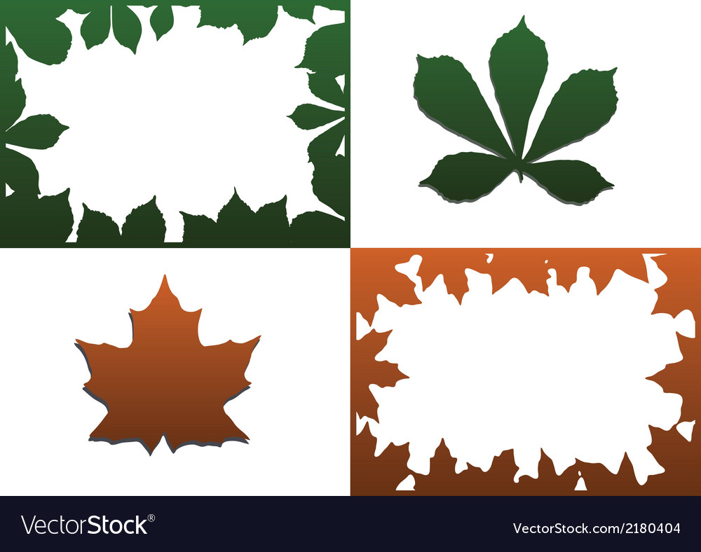 Color photo frame with leaves vector | Price: 1 Credit (USD $1)