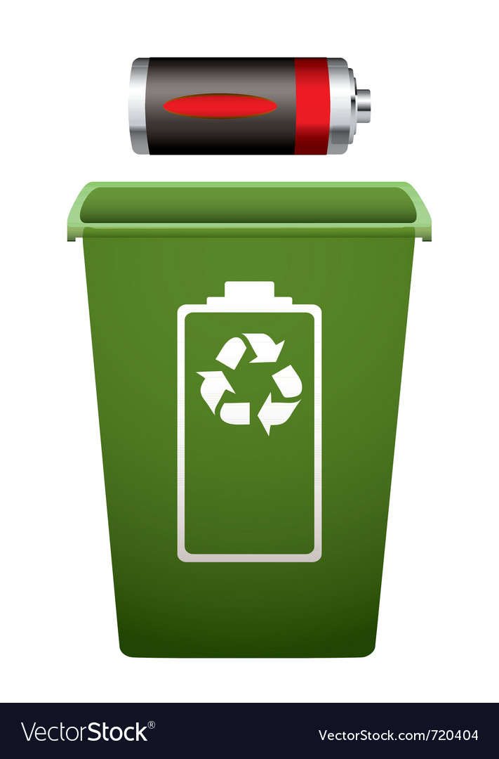 Dead battery green recycle bin vector | Price: 1 Credit (USD $1)