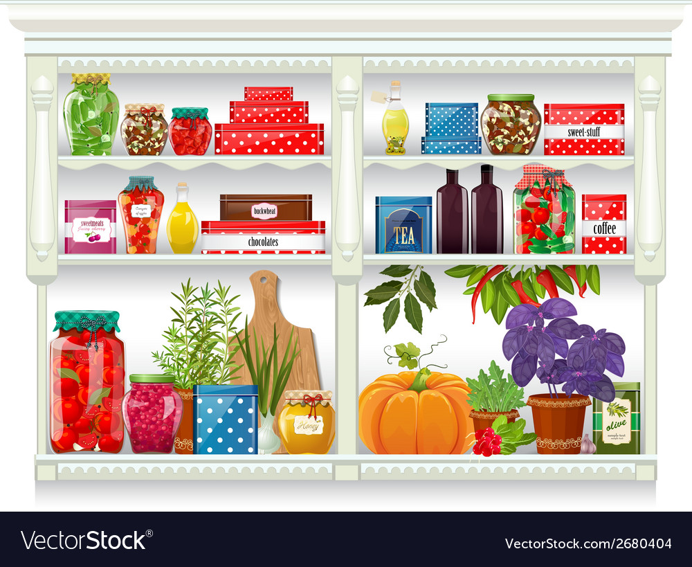 Fresh produce and glass bottles with preserved vector