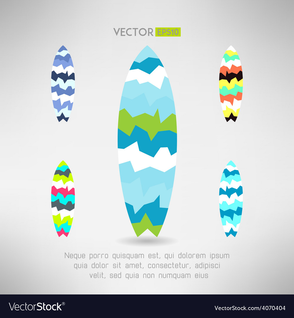 Geometrical surfboard designs set surfing board vector | Price: 1 Credit (USD $1)