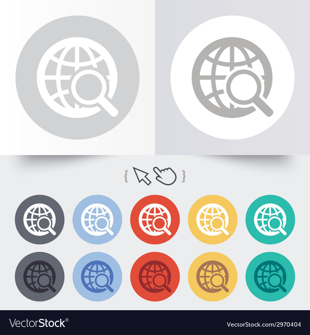 Global search sign icon world globe symbol vector | Price: 1 Credit (USD $1)